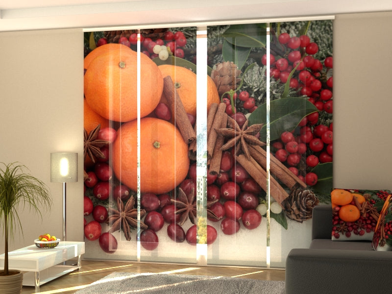 Set of 4 Panel Curtains Oranges and Cinnamon - Wellmira