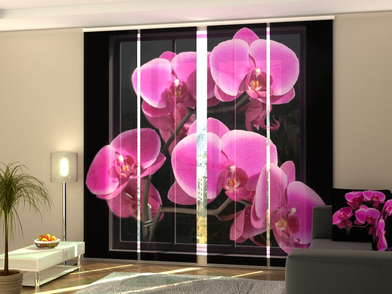 Set of 4 Panel Curtains Orchid Twig - Wellmira