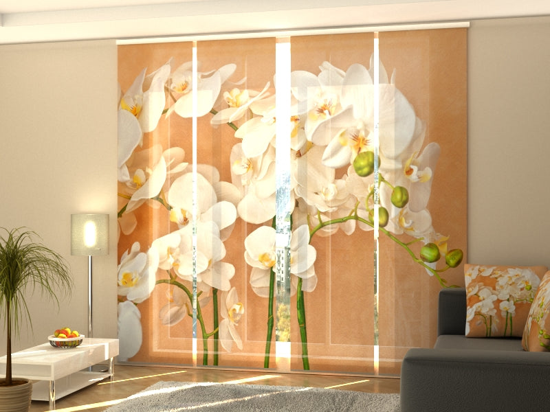 Set of 4 Panel Curtains Orchids Asia - Wellmira