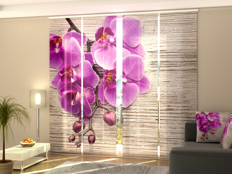Set of 4 Panel Curtains Orchids and Tree 2 - Wellmira