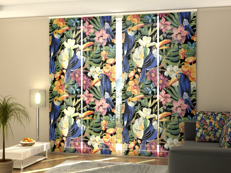 Set of 4 Panel Curtains Parrots in Paradise - Wellmira