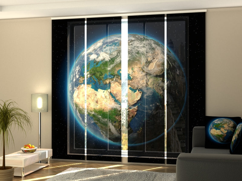 Set of 4 Panel Curtains Planet Earth - Wellmira
