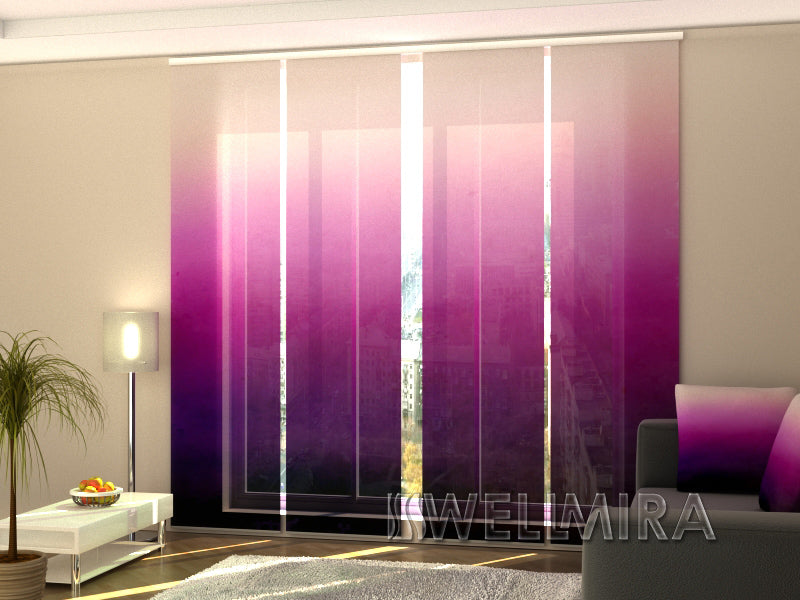 Set of 4 Panel Curtains Purple Watercolor Ombre - Wellmira
