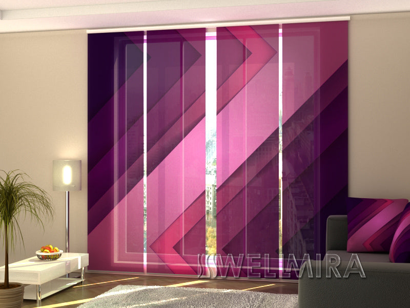 Set of 4 Panel Curtains Purple Lines - Wellmira