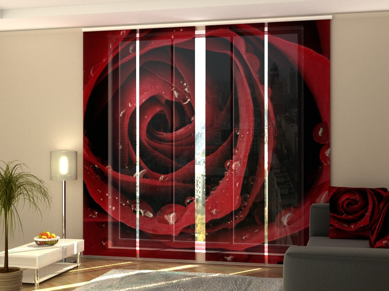 Set of 4 Panel Curtains Red Rose - Wellmira