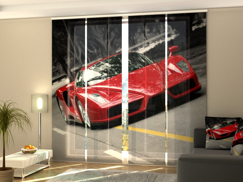 Set of 4 Panel Curtains Red Supercar - Wellmira