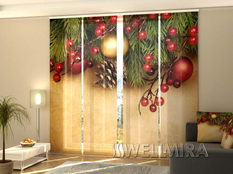 4er set fl chenvorhang retro christmas interior textiles. Black Bedroom Furniture Sets. Home Design Ideas