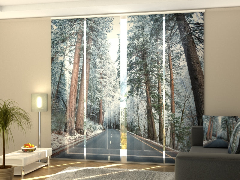 Set of 4 Panel Curtains Road in Snow-Covered Forest