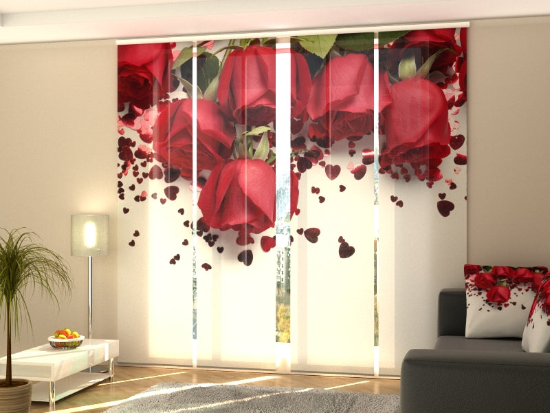 Set of 4 Panel Curtains Roses and Hearts - Wellmira