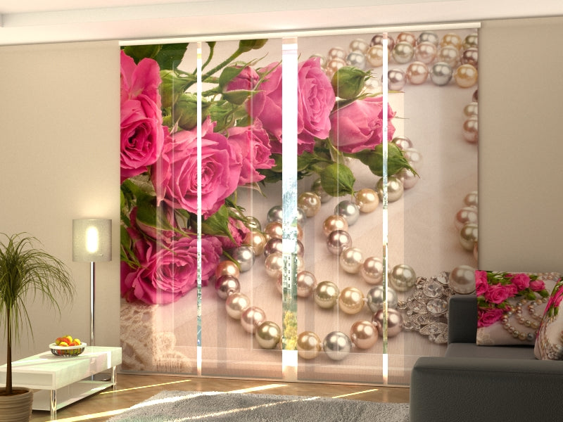 Set of 4 Panel Curtains Roses and Pearls - Wellmira