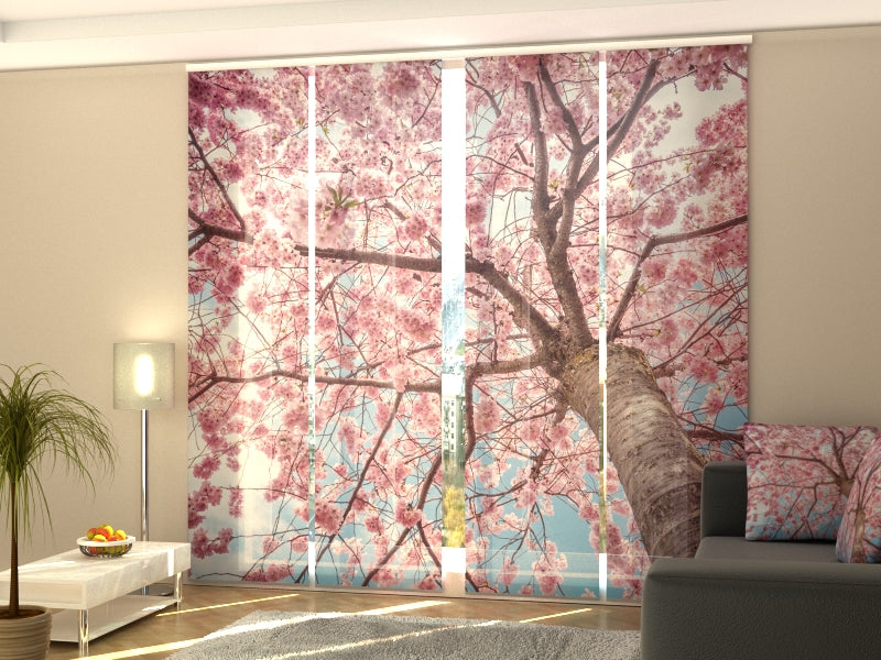 Set of 4 Panel Curtains Sakura Blooming from Bottom Up