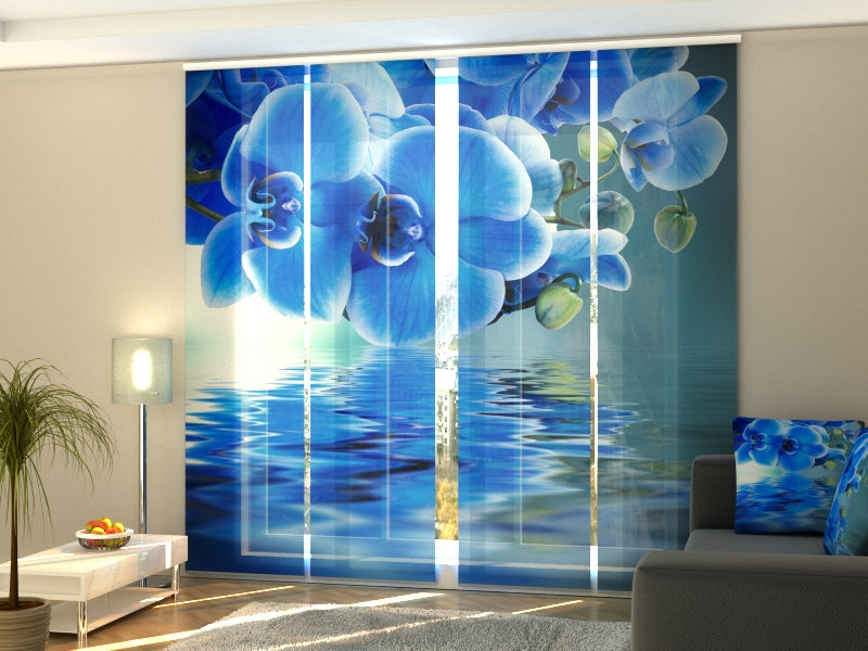 Set of 4 Panel Curtains Sapphire Orchid - Wellmira