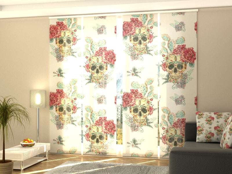 Set of 4 Panel Curtains Skulls and Roses - Wellmira