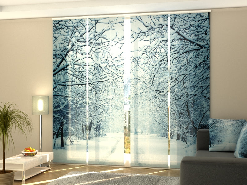 Set of 4 Panel Curtains Snowy Evening