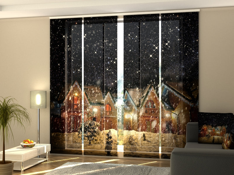 Set of 4 Panel Curtains Snowy Night