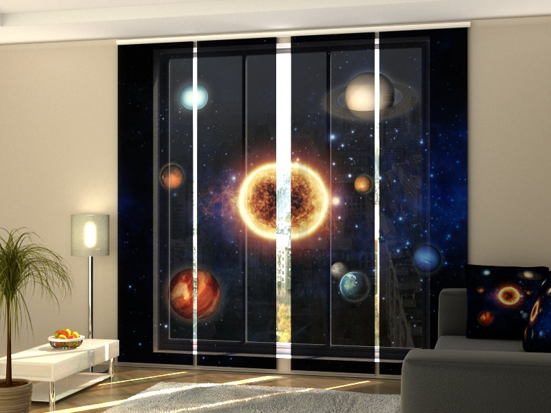 Set of 4 Panel Curtains Sun and Planets - Wellmira