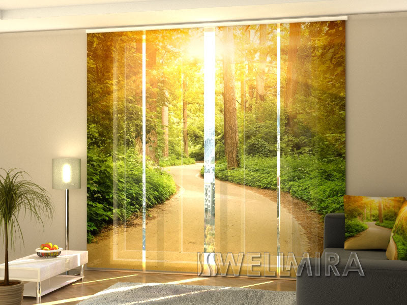 Set of 4 Panel Curtains Sunny road - Wellmira