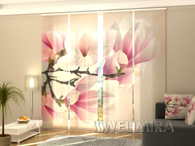 4er set fl chenvorhang sweet magnolias interior textiles. Black Bedroom Furniture Sets. Home Design Ideas