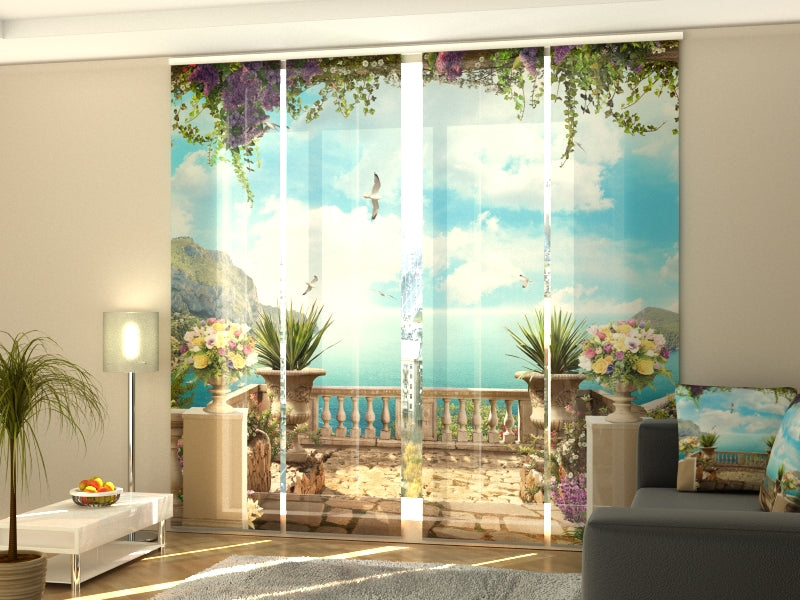 Set of 4 Panel Curtains Terrace by the Sea
