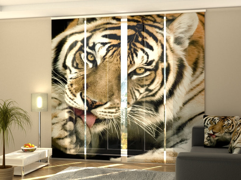 Set of 4 Panel Curtains Tiger 2 - Wellmira