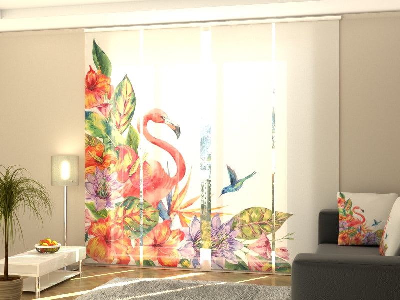 Set of 4 Panel Curtains Tropical Flamingo - Wellmira