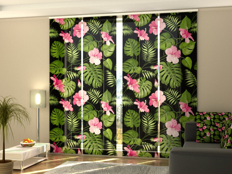 Set of 4 Panel Curtains Tropical Flowers on the Black - Wellmira