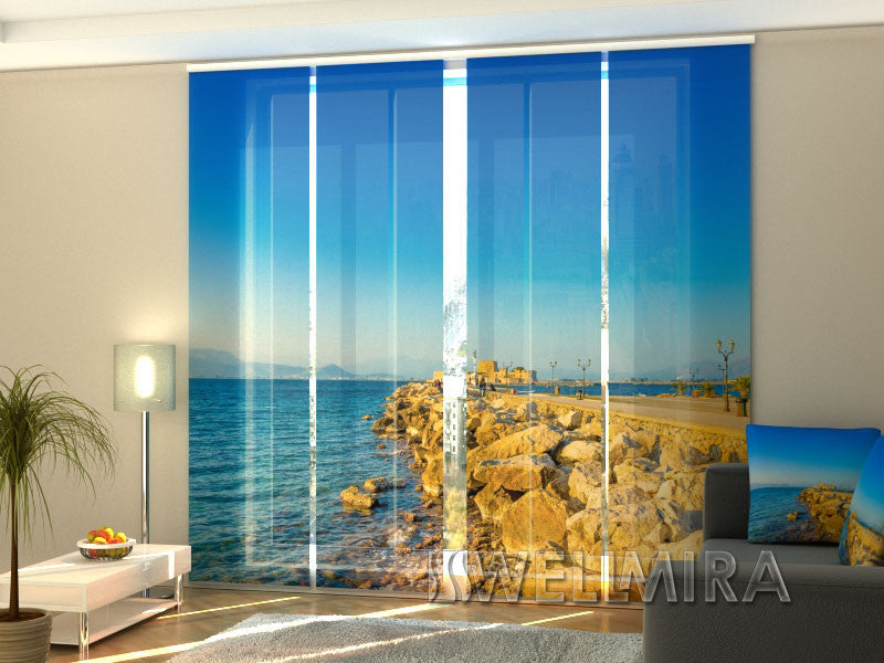 Set of 4 Panel Curtains View of the Port in Greece - Wellmira