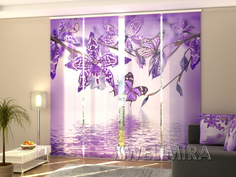 Set of 4 Panel Curtains Violet Orchid - Wellmira
