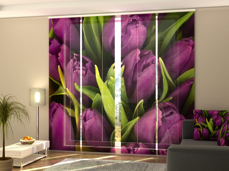 Set of 4 Panel Curtains Violet Tulips - Wellmira