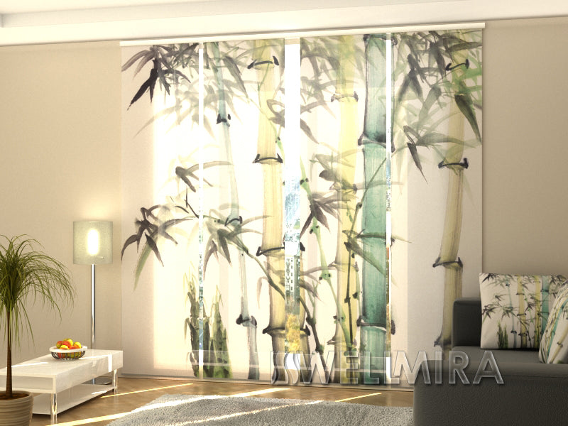 Set of 4 Panel Curtains Watercolor bamboo - Wellmira