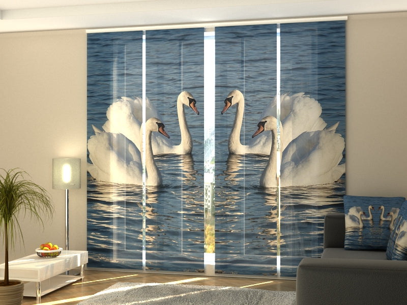 Set of 4 Panel Curtains White Swans - Wellmira