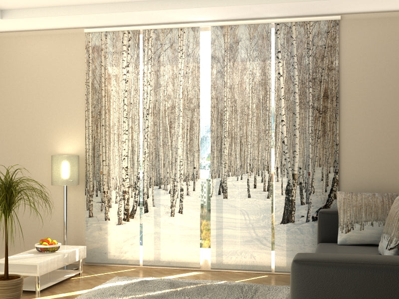 Set of 4 Panel Curtains Winter Birch Forest