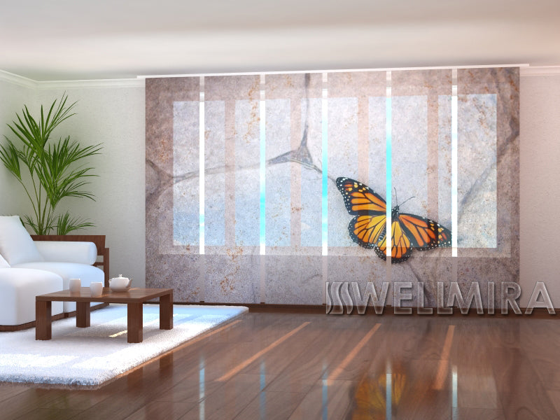 Set of 6 Panel Curtains Butterfly on stone