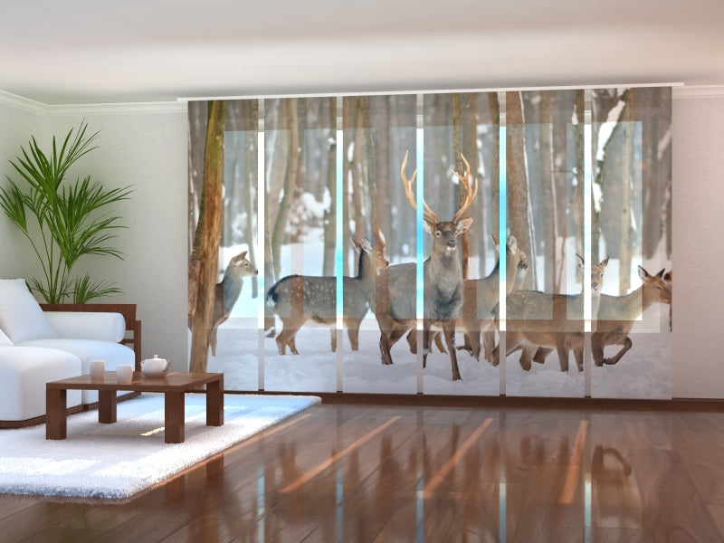 Set of 6 Panel Curtains Deers in Winter