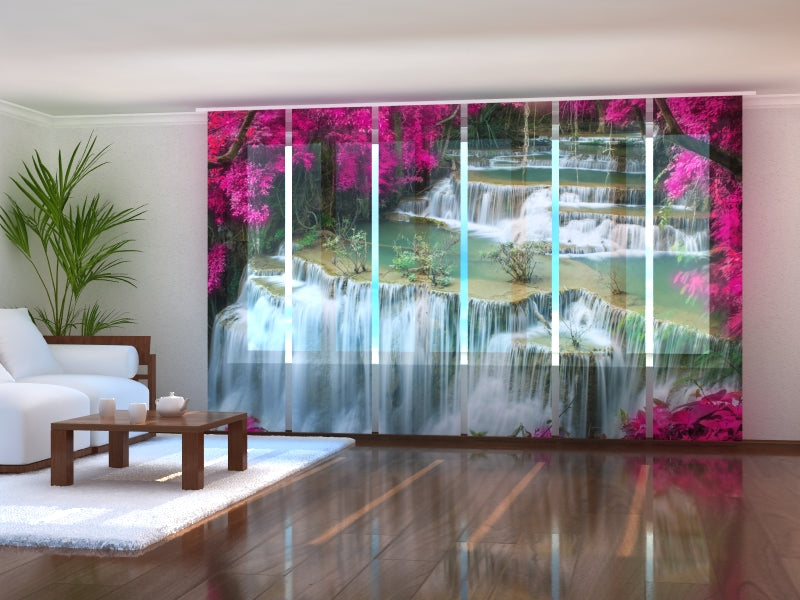 Set of 6 Panel Curtains Flowers at the Waterfall