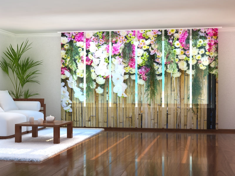 Set of 6 Panel Curtains Flowers on Bamboo