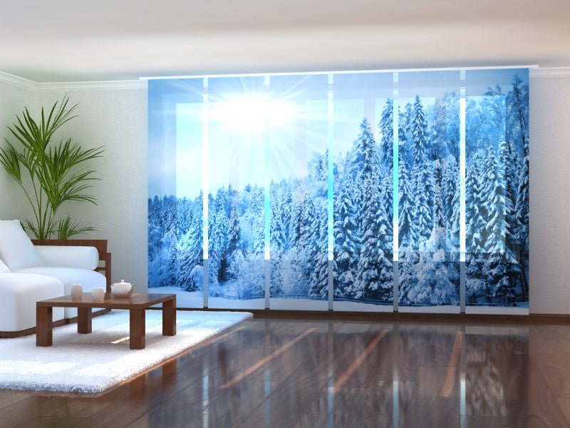 Set of 6 Panel Curtains Forest with Snow and Hoarfrost