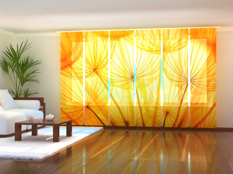 Set of 6 Panel Curtains Golden Dandelion
