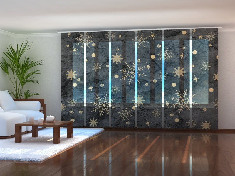 Set of 6 Panel Curtains Golden Snowflakes