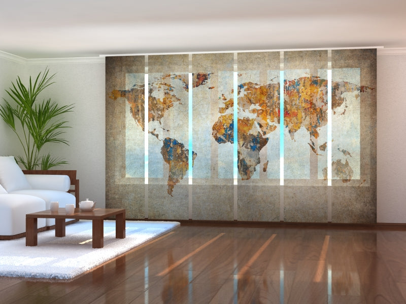 Set of 6 Panel Curtains Grunge Map of the World