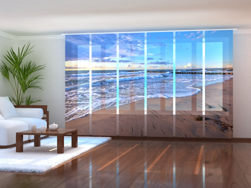 Set of 6 Panel Curtains Morning on the Beach