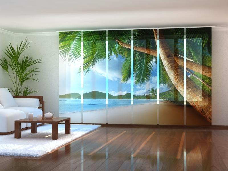 Set of 6 Panel Curtains Ocean and Palms - Wellmira