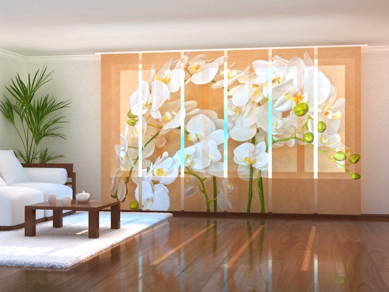 Set of 6 Panel Curtains Orchids Asia