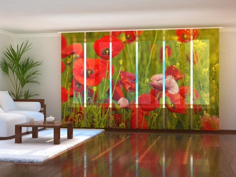 Set of 6 Panel Curtains Red Poppies - Wellmira