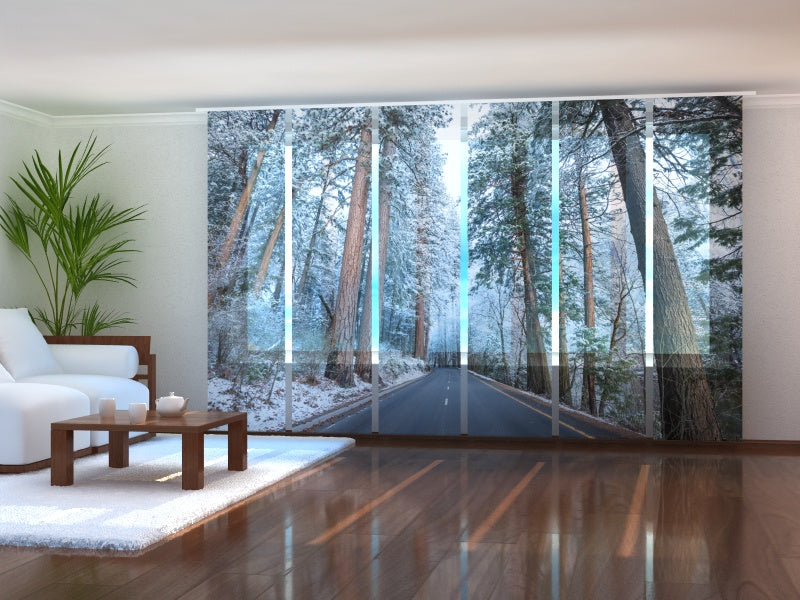 Set of 6 Panel Curtains Road in Snow-Covered Forest