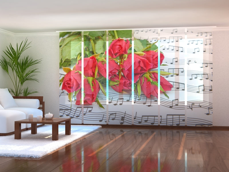 Set of 6 Panel Curtains Roses and Notes