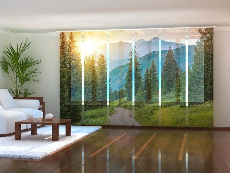 Set of 6 Panel Curtains Sun and Mountains