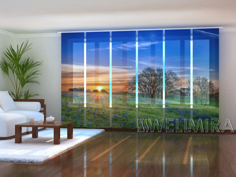 Set of 6 Panel Curtains  Sunrise in Texas