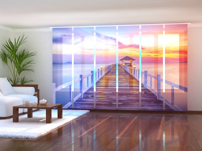 Set of 6 Panel Curtains Sunrise on the Sea