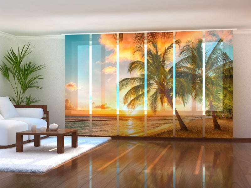 Set of 6 Panel Curtains Tropical Coast
